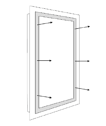 Diagram showing direct light direction from the LED mirror.